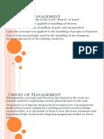 Origin of Management