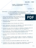 BALLB Law and Education Question Paper
