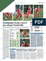 La Provincia Di Cremona 20-10-2018 - Cremonese