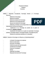 Programa de Estudio Gestion de La Tecnologia