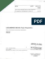 NTP 205.015 1992 Legumbres Secas. Frijol. Requisitos