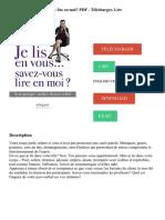 TÉLÉCHARGER LIRE DOWNLOAD READ. Description. Je Lis en Vous... Savez-Vous Lire en Moi_ PDF - Télécharger, Lire ENGLISH VERSION