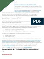 Curso NR 18 Treinamento Admissional