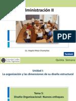 ADMINISTRACION II Semana 5 Diseño Organizacional nuevos Enfoques
