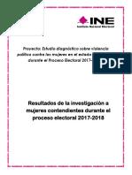 Resultados de la investigación a mujeres contendientes durante el proceso electoral 2017-2018