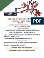 Coloquio de Experiencias. 2018, Programa