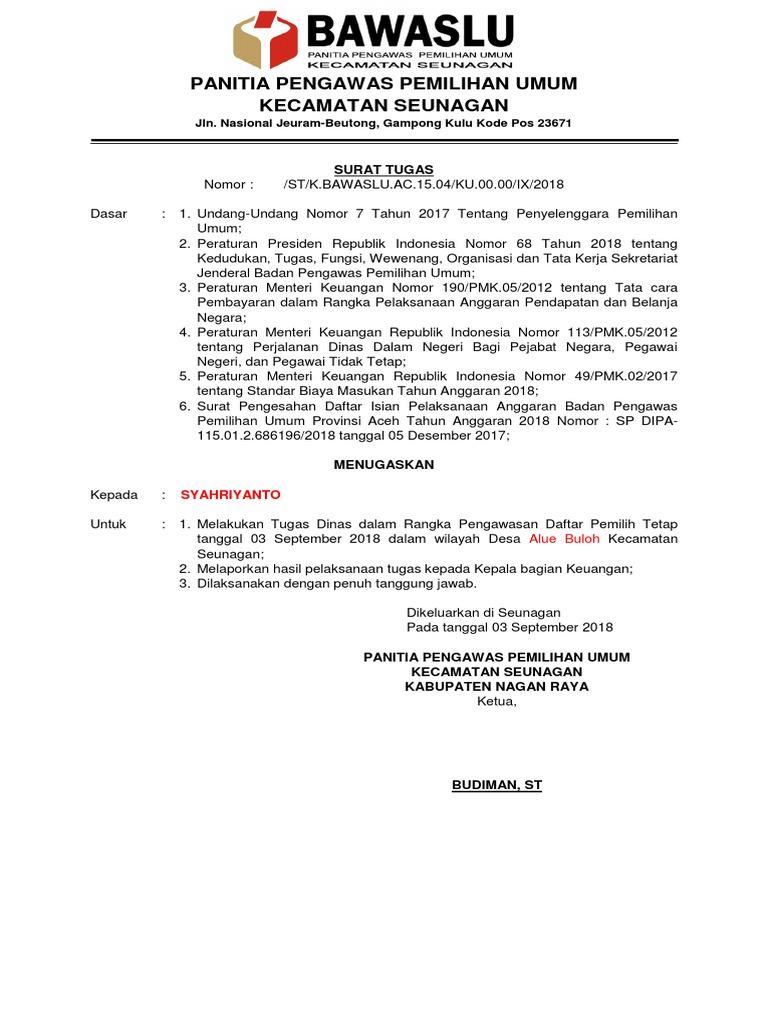 Contoh Surat Tugas Ppg 9