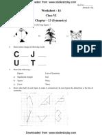 CBSE Class 6 Symmetry Worksheet