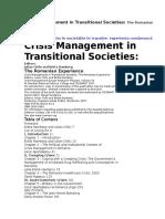 Gestionarea Crizelor În Societăţile În Tranziţie-experienţa Românească