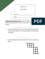 Math 30-2 Unit Exam (#2) (Written Only)