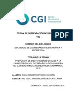 Tesina (TSD) Diplomado de Geomecánica - Raúl Renato CIPRIANO CHUDÁN