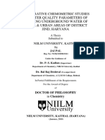 Thesis-Comparative Chemometric Studies of Water Quality Parameters of Drinking Underground Water of Rural & Urban Areas of District Jind, Haryana