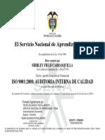 Certificado Auditoria Interna de Calidad