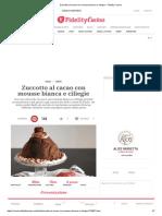 Zuccotto Al Cacao Con Mousse Bianca e Ciliegie - Fidelity Cucina