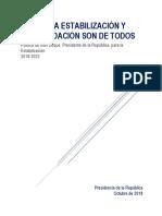 La Paz - La Estabilización y Consolidación Son de Todos - Política de Iván Duque - Presidente 2018-2022