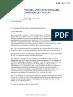 Laboral-reglamento Organico Funcional Del Ministerio de Trabajo