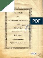 Mensaje Del Presidente Provisorio Jose Miguel Velasco a a La Representacion Nacional