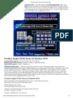 Prediksi Jitu Angka PCSO Senin 22 Oktober 2018