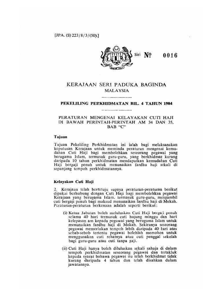 Pp4 1984 Peraturan Mengenai Kelayakan Cuti Haji Di Bawah Perintah Perintah Am 34 Dan 35 Bab C