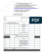 Consultation Record Sheet