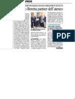Il Gruppo Beretta partner dell'ateneo - Il Resto del Carlino del 19 ottobre 2018