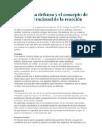 La Legítima Defensa y El Concepto de Necesidad Racional de La Reacción