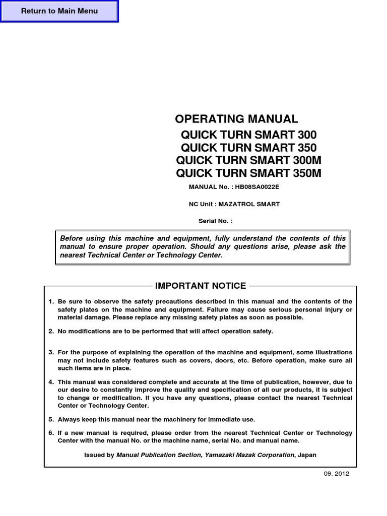 Manual de Operacion Quick Turn Smart 350m | Numerical Control | Machining