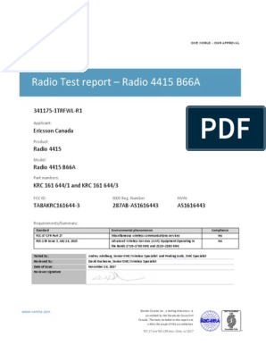 Test Report RRU 4415 | Information And Communications Technology | Radio