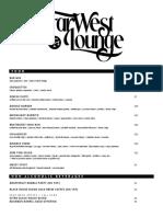Far West Lounge Menu