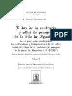 Llibre de La Confraria y Offici de Perayres de La Vila de Igualada. Vol. II
