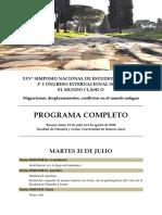 Programa - XXV Simposio Nacional de Estudios Clásicos - 2018