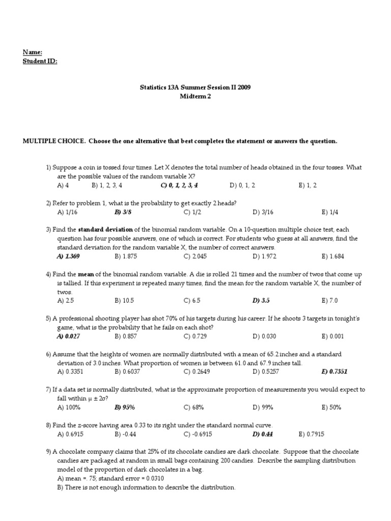 Midterm 2 With Solution | Confidence Interval | Standard Error