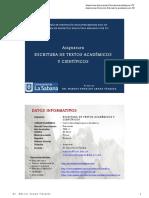 Arnao M (2018) Escritura de Textos Academicos SILABO DIAPOSITIVAS