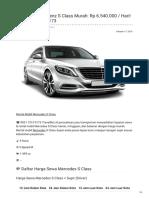 Rental & Sewa Benz S Class Harian Murah ☎ 0821 1313 0173 TravelBos.id