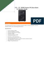 Studiomaster GX15 - 15 500W Passive PA Disco Band DJ Speaker Single