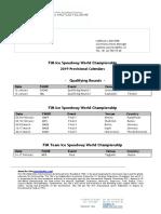 FIM Ice Speedway World Championships - 2019 Provisional Calendars 23 October