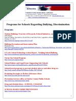 Programs for Schools Regarding Bullying, Discrimination