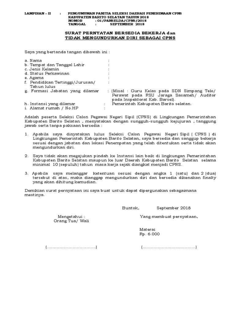 Contoh Surat Pernyataan Tidak Mengundurkan Diri Cpns 2018 Pdf