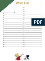 Vocabulary Bank Worksheet