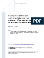 Carlino, Paula (2009). Leer y Escribir en La Universidad, Una Nueva Cultura. Por Que Es Necesaria La Alfabetizacion Academicao