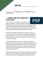 Lei 13.260/2016  - Antiterrorismo  - A Tipificação de Atos Preparatórios