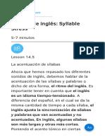 Lección de Inglés Syllable Stress