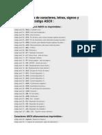 Lista Completa de Caracteres ASCII
