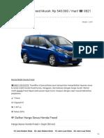 Rental & Sewa Honda Freed Harian Murah ☎ 0821 1313 0173 TravelBos.id