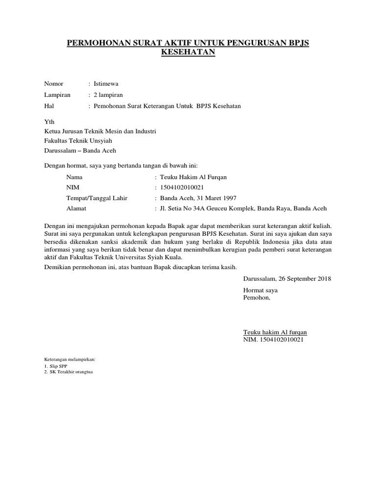 Contoh Surat Aktif