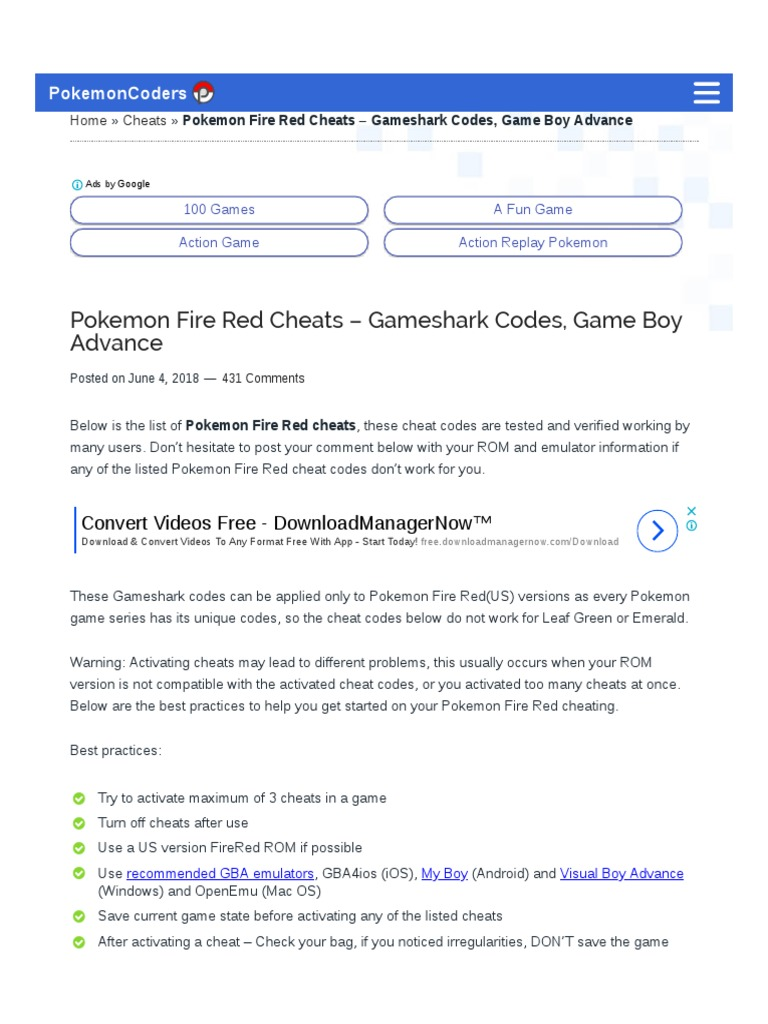 pokemon fire red emulator for android cheats