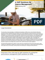 SAP Road Map for SAP Solutions for Enterprise Performance Management Performance Exchange 2015