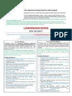Job Vacancy Cogen Operational