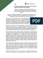 Trenes Argentinos Presentó Sus Políticas de Transparencia en La Principal Conferencia Internacional Anticorrupción