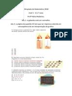 Olimpíada de Matemática 2018 FASE 1